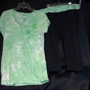 NWOT V neck yoga t-shirt and Capri leggings